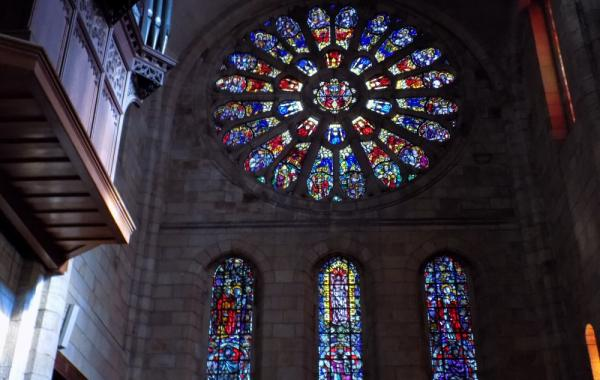 Stain glass windows inside St. Georges Cathedral